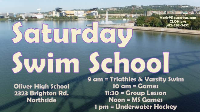 Saturday Swim School poster at Oliver High School