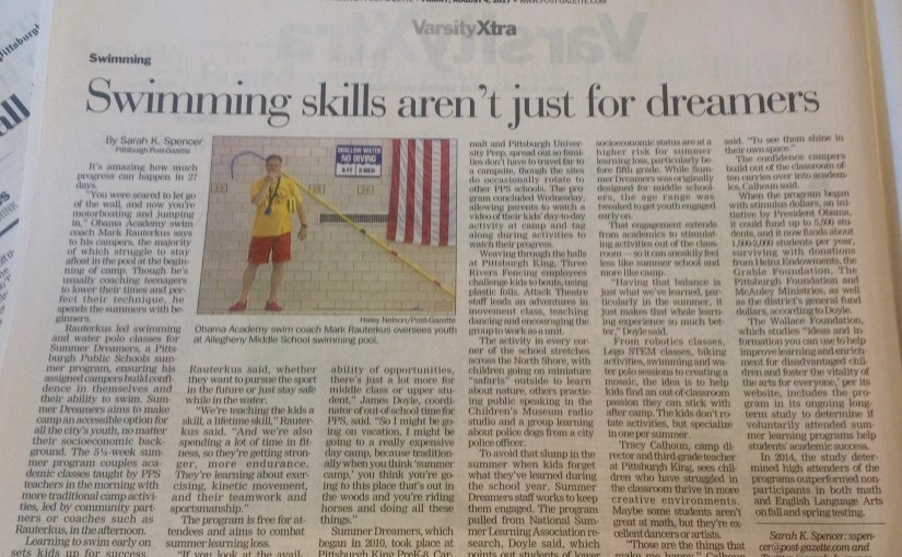 We made the newspaper! Coverage of Swim & Water Polo in the Post-Gazette
