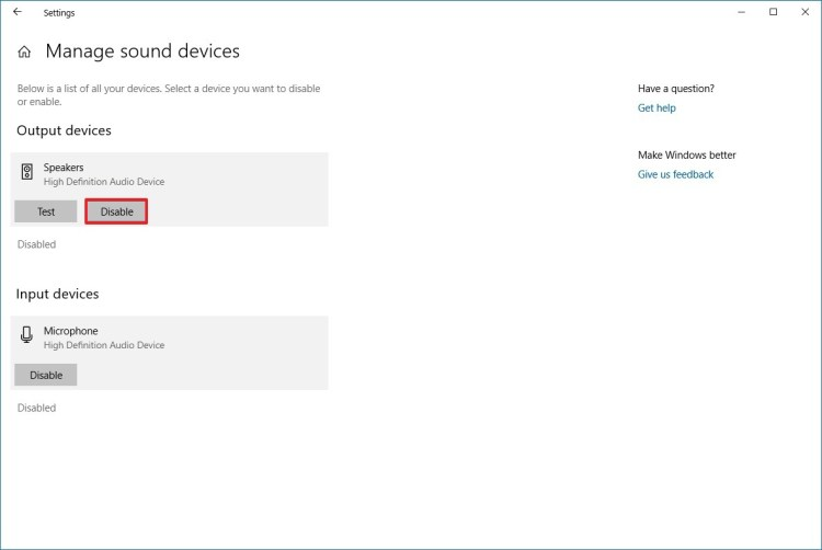 How to disable the speakers and microphone in Windows 10