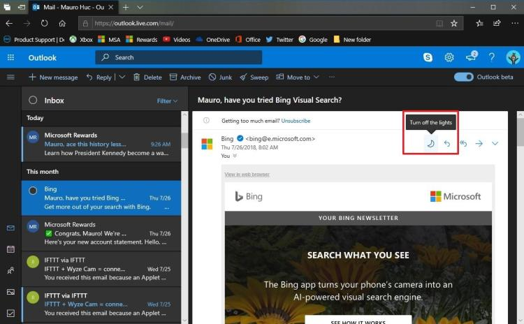 How to enable dark mode for Outlook web