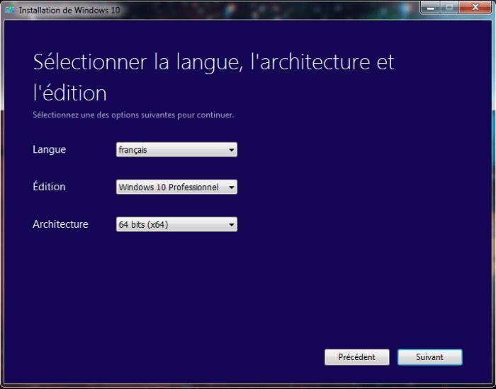 Choix Version Windows 10