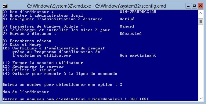 Changement du nom d'ordinateur