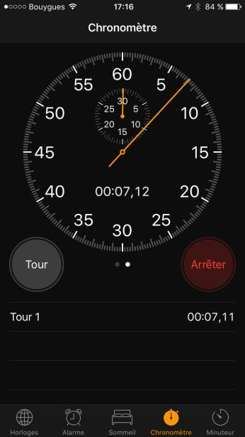 Chronomètre iOS 10