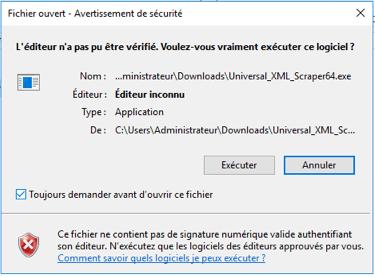 Executer Universal XML Scraper