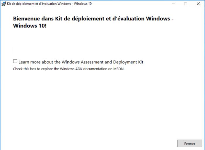 Installation Windows ADK