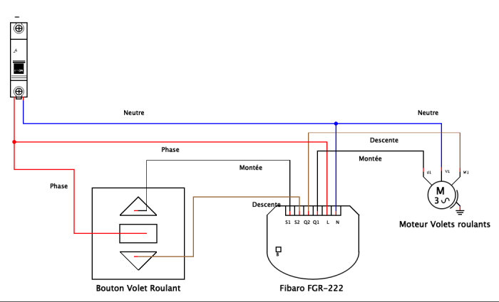 Schéma de câblage avec Fibaro FGR-222