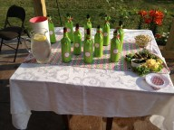 Pink and green chevron wine tablescape. Delta Zeta Wine Tasting Party