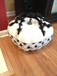 Painted craft pumpkin, ribbon, fluffy spider