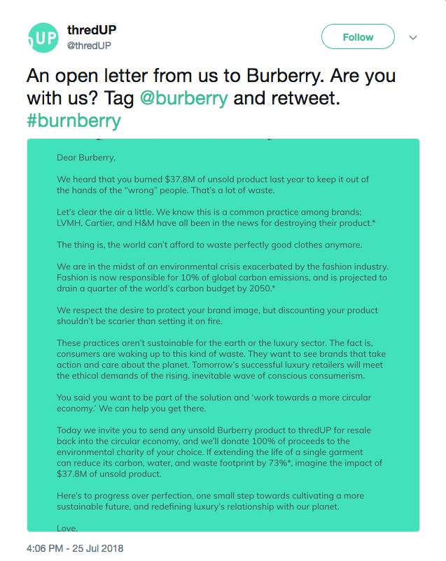 ThredUp's Open Letter To Burberry - Closet Full Of Cash