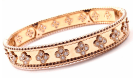 Van Cleef & Arpels 18k Rose Gold Perlee Diamond Clover Bangle Bracelet