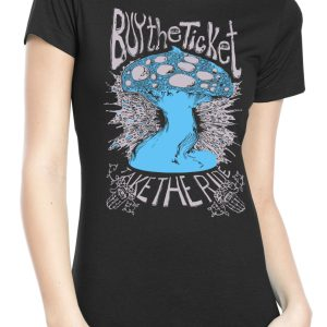 Women's Psychedelic Mushroom Shirt with hunter s thompson quote by Closet of Mysteries