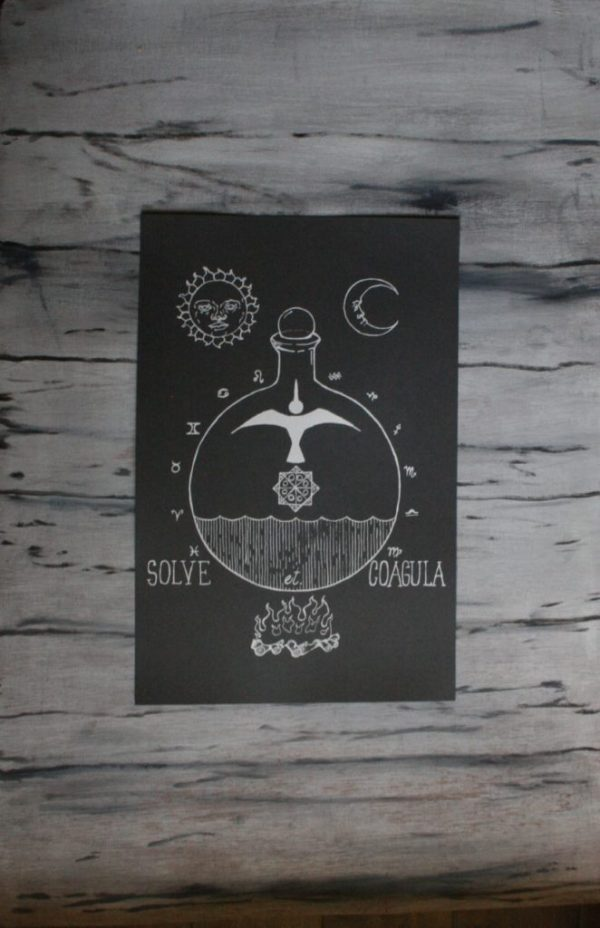 "screen print poster alchemical diagram from Closet of Mysteries ""Solve et Coagula"" design"