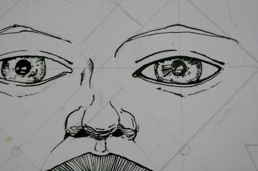pen and ink drawing in progress