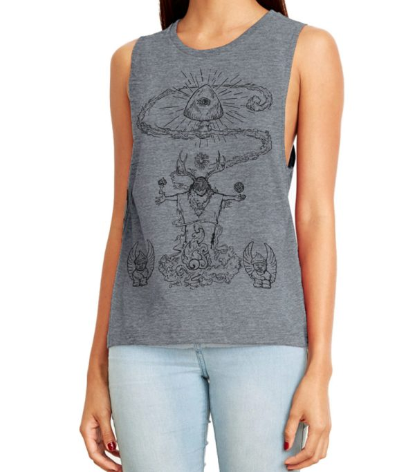 Mushroom Shaman Festival Muscle Tank Top by Closet of Mysteries