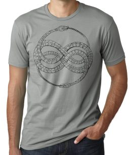 Ouroboros original screen print shirt design on Grey by Closet of Mysteries