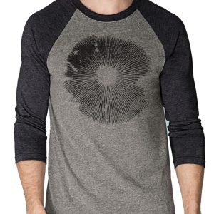 Mushroom spore print Shirt 3/4 sleeve raglan triblend by Closet of Mysteries