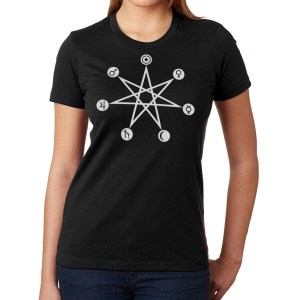 Planetary correspondences days of the week ladies black t shirt from Closet of Mysteries