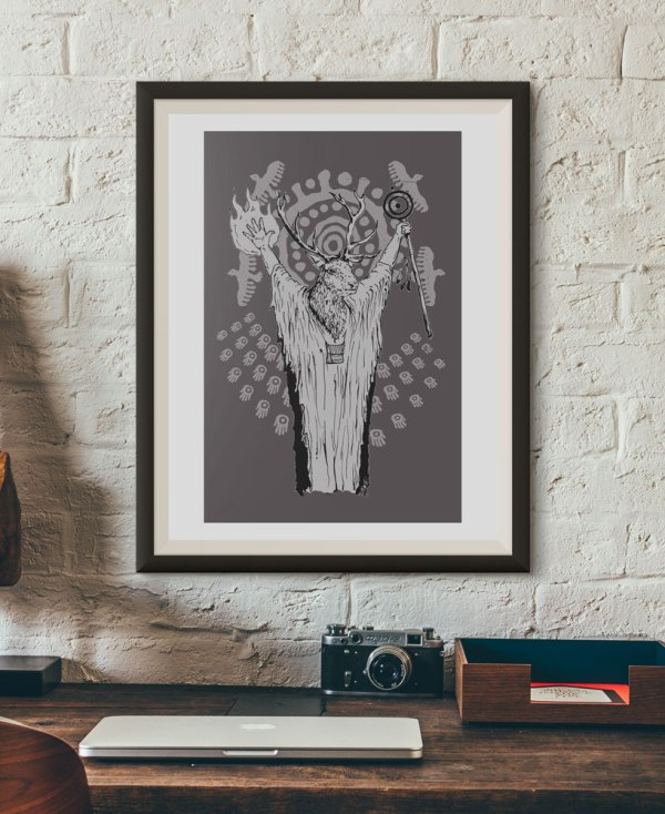 Deer Shaman Poster Screen print by Closet of Mysteries