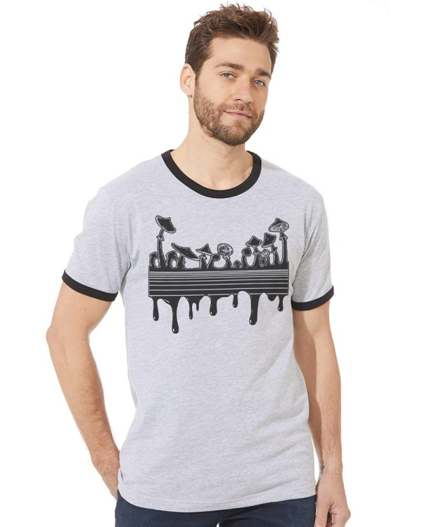 Drippy Psychedelic Mushroom shirt design ringer tee by Closet of Mysteries