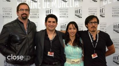 El director y el elenco de El vigilante, en su presentación en el FICM (Foto: Amelia Rojas)