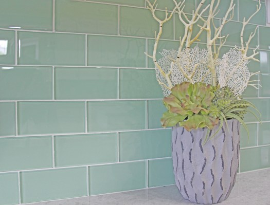 Surf Glass Subway Tile Backsplash