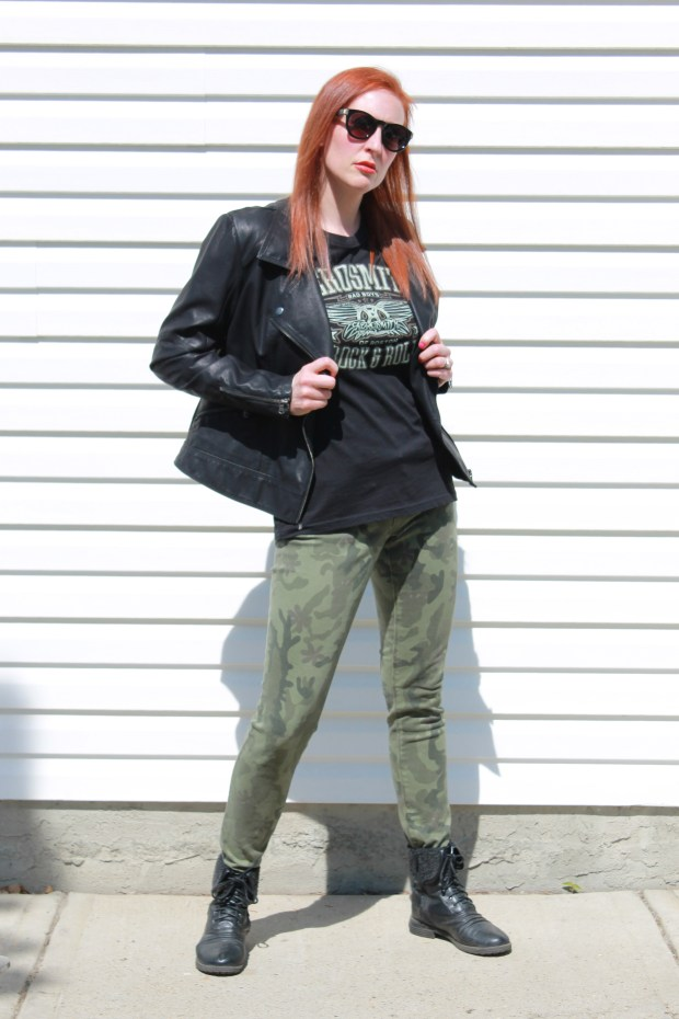 leather motorcycle jacket camo pants rock t-shirt