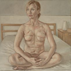 Woman on Bed, 60cm x 60cm, oil on linen