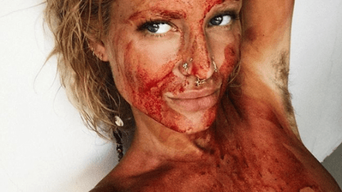 Swedish Naturist Receives Backlash After Posting Picture Covered In 'Menstrual Blood' (via www.ladbible.com)
