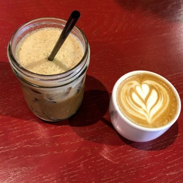 Vanilla iced latte and a cappuccino