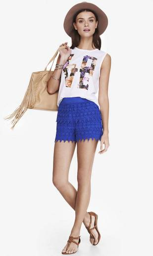 Blue Mid Rise Crochet Shorts - $49.90, Express