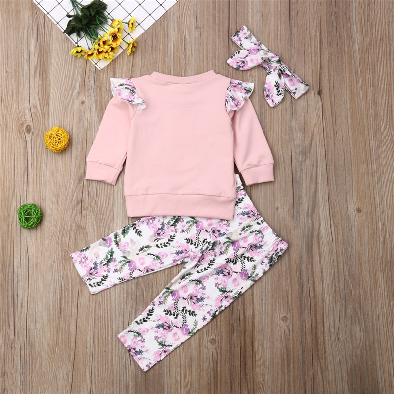 Girls Clothes 3pcs Autumn Spring Outfits Infant Baby Girls Long Sleeve Tops Flower Pants Leggings Roupas Set Moms Babies