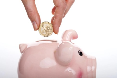 Money being placed into piggy bank