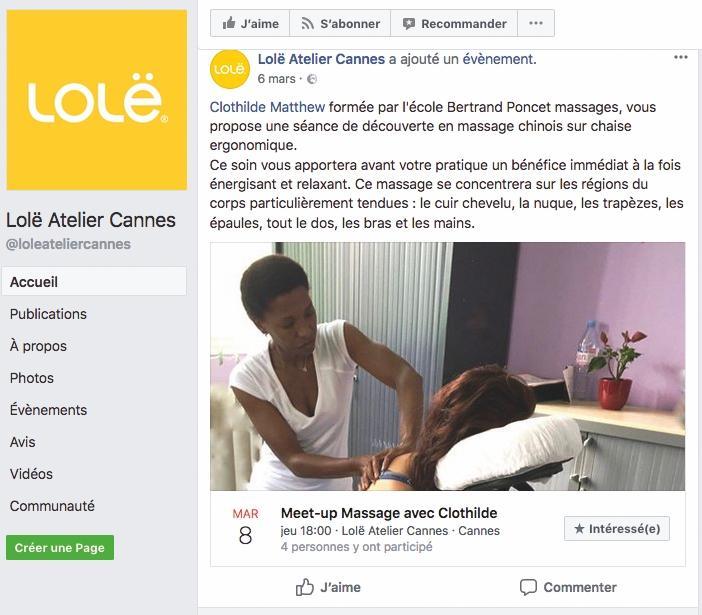 Clothilde Matthew - Massage Atelier Lole - Capture Facebook