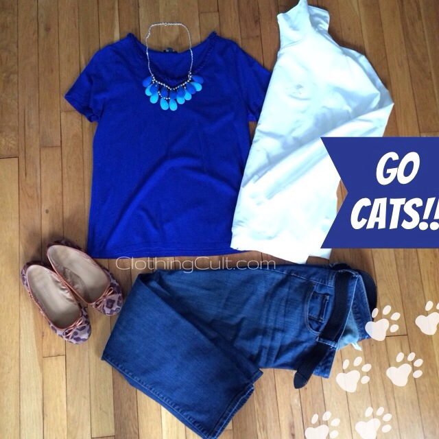 UK vs UofL gameday outfit blue and white #bbn #gocats #weareuk !!!