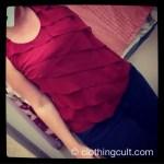 Talbot's Red silk ruffly shirt