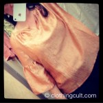 Talbot's orange silky bell sleeve top