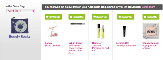 Ipsy Glambag April 2014
