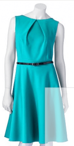 AB Studio Pleated Fit & Flare Dress Teal