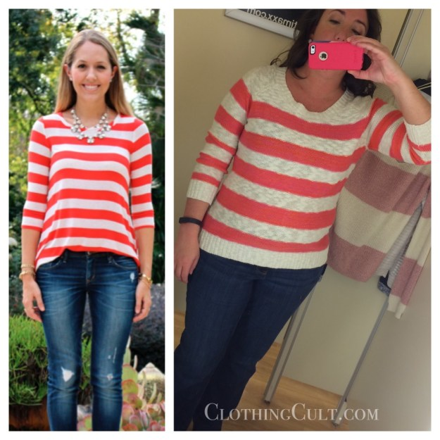 TJ Maxx Pink Rose striped sweater & inspiration • ClothingCult.com