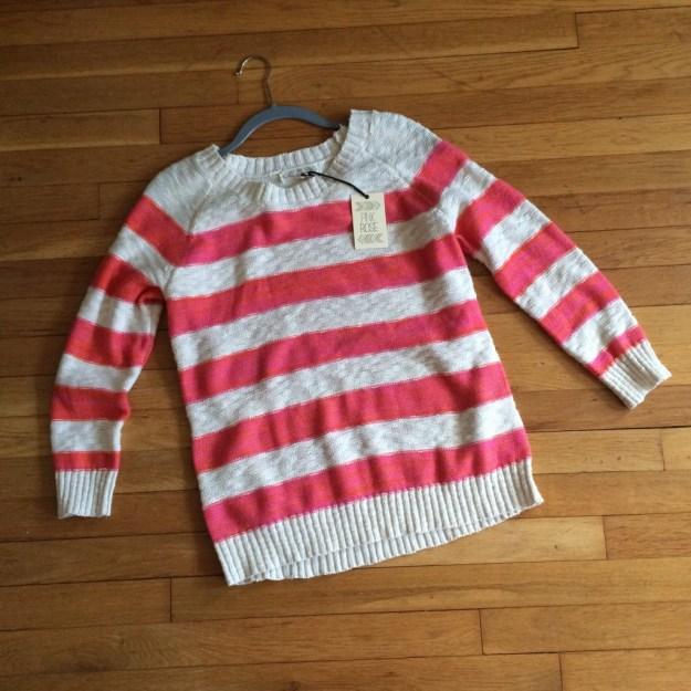 TJ Maxx Pink Rose striped sweater by itself  • ClothingCult.com