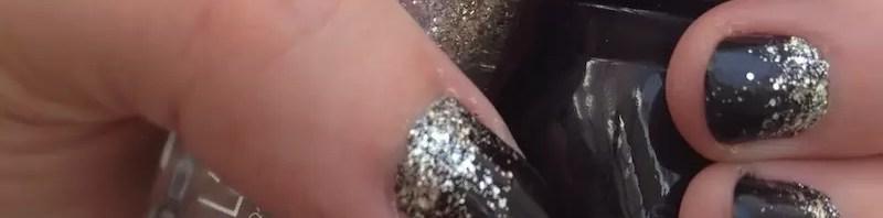 Halloween glam black & glitter nails