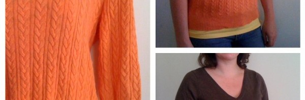 I seem to be dressed as a candycorn – thrifted sweaters