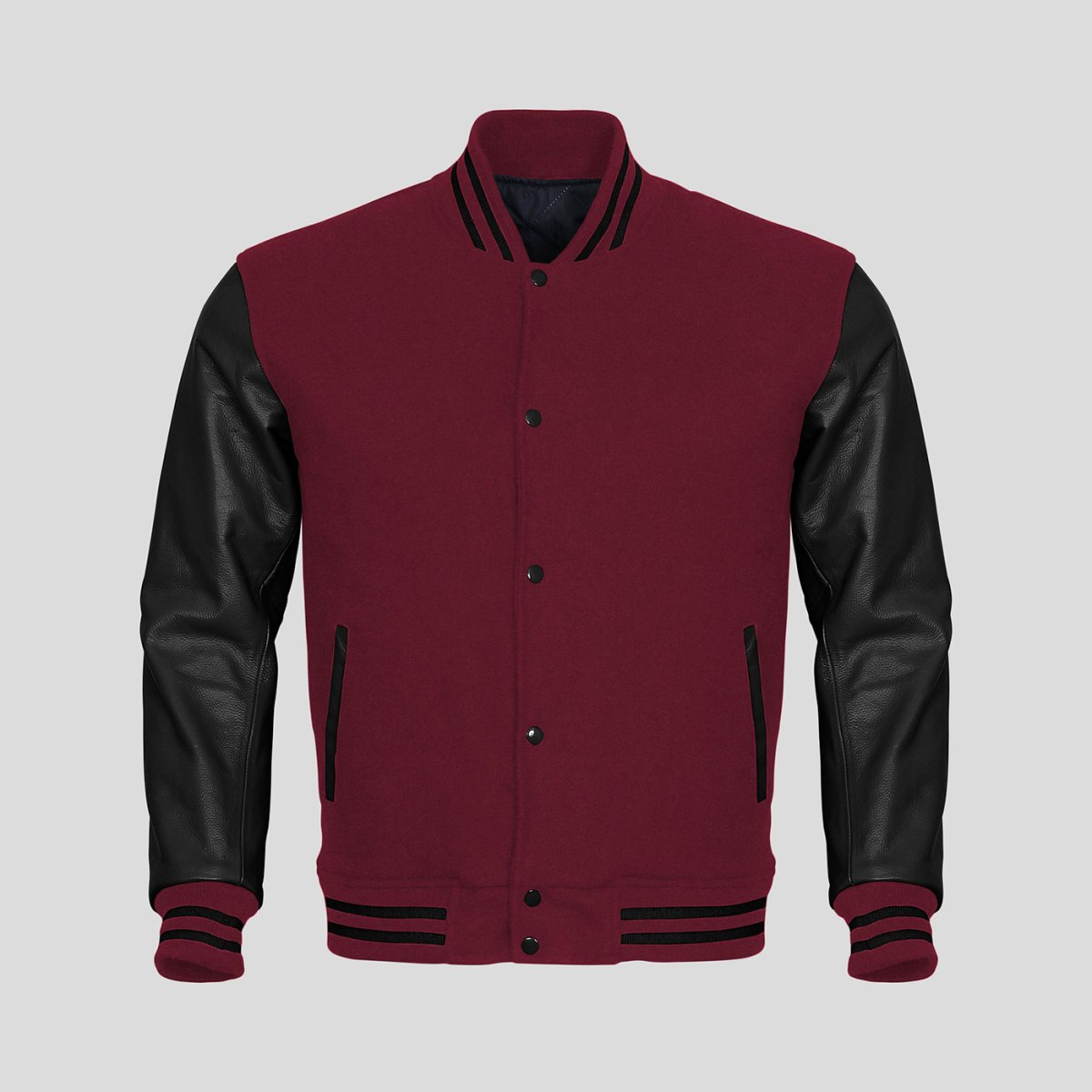 Black Leather Sleeves Maroon Wool Varsity Jacket