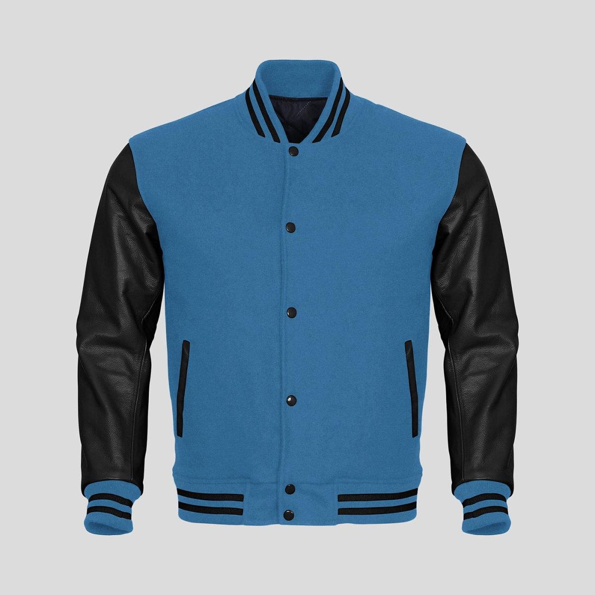 Black Leather Sleeves Sky Blue Wool Varsity Jacket Clothoo
