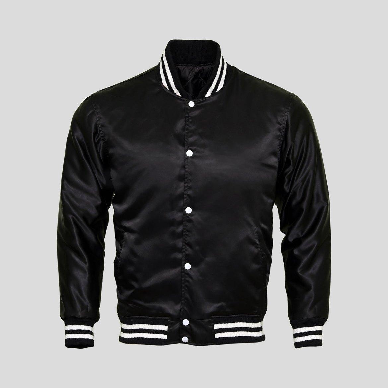 Black Satin Baseball Jacket | Clothoo