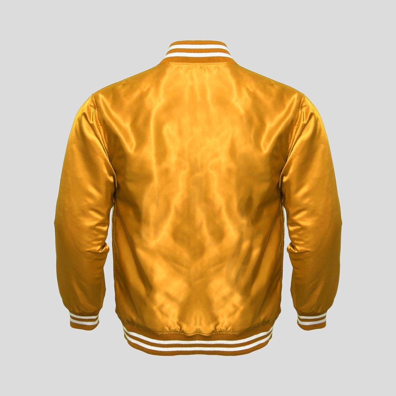 Gold Satin Baseball Jacket | Clothoo