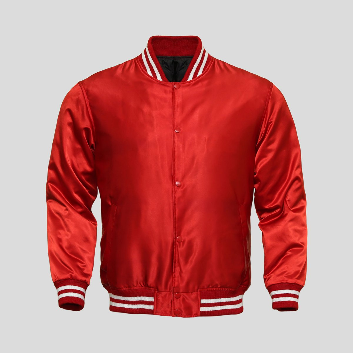 Red Satin Baseball Jacket | Clothoo