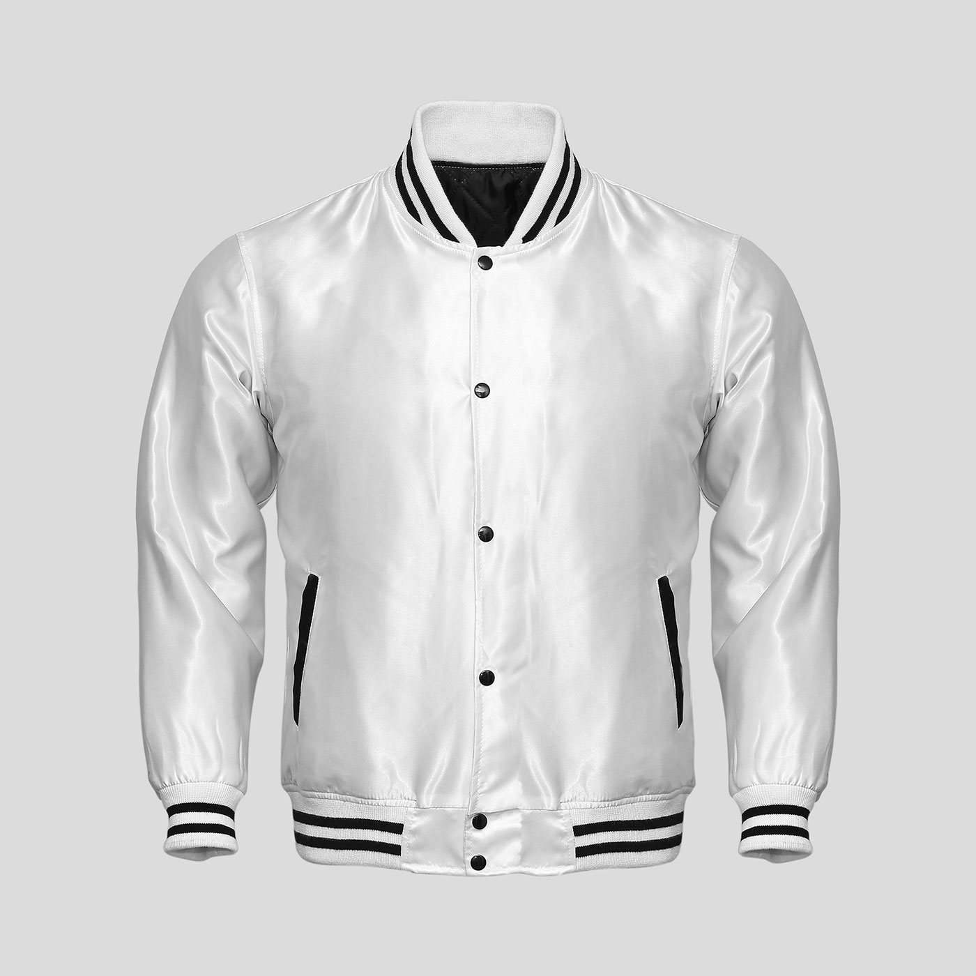 White Satin Baseball Jacket | Clothoo