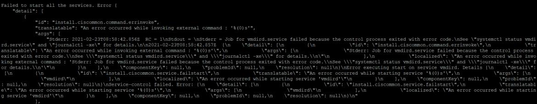 vcenter service restatr failed