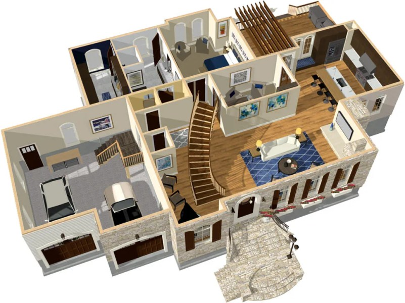 Home Designer Pro Dollhouse Overview with Curved Stairs